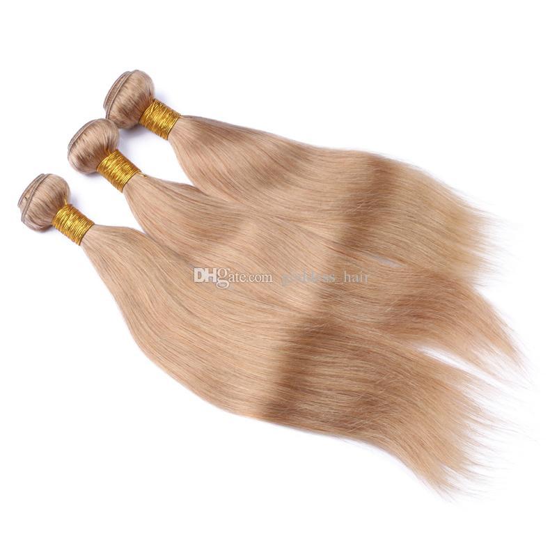 Cabello humano recto de Malasia 3 paquetes con cierre de encaje El cabello rubio miel # 27 teje con cierre de encaje Parte libre de 4x4 para mujer