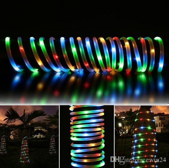 50 LED солнечной энергии веревки трубки свет Шнура светодиодные Фея свадьба Ourdoor сад 30 шт. горячие продажа