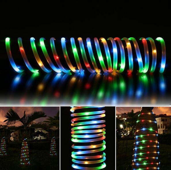 50 светодиодных солнечных канатов водонепроницаемый с датчиком света для рождественской свадьбы с бесплатной доставкой