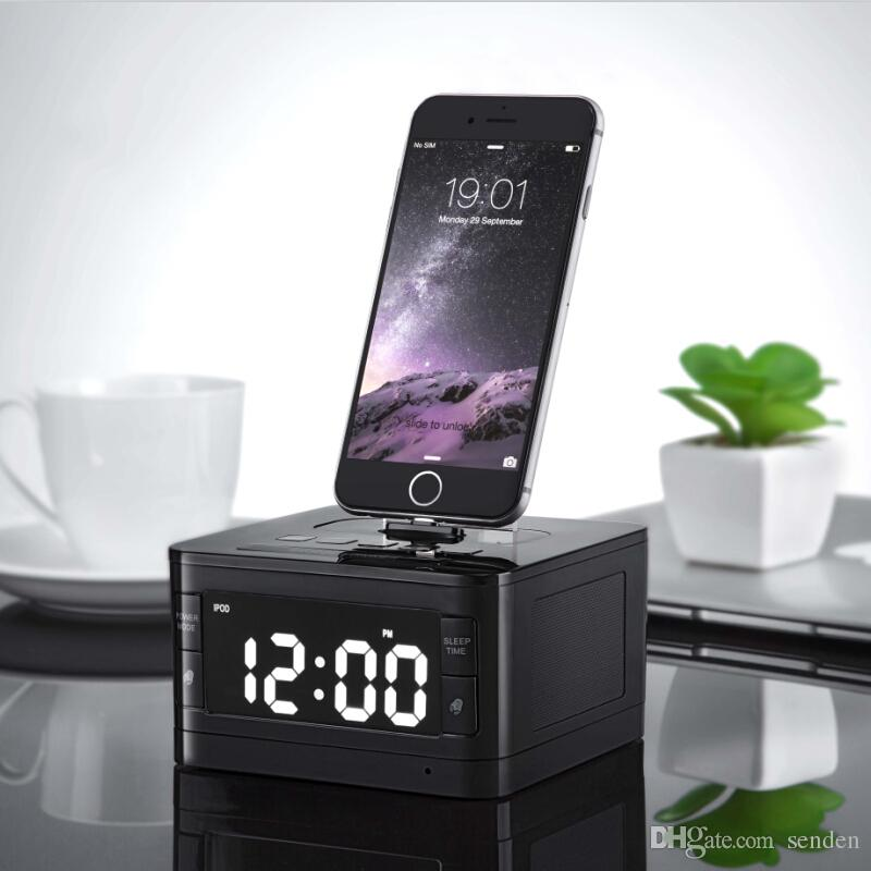 the latest 41620 8769e Portable brand T7 Bluetooth Radio Alarm Clock Speaker System with LCD  Screen Music Dock Charger Station Stereo Speaker for 8 Pin iPhone/ipod