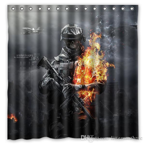 2019 Battlefield Aviation Ammunition Skull Gun Design Shower Curtain Size 180 X Cm Custom Waterproof Polyester Fabric Bath Curtains From