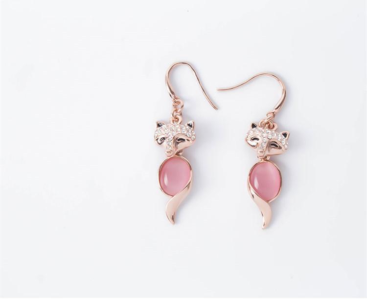 Collana orecchini gioielli set moda squisita lusso di alta qualità strass opale 18 k placcato oro volpe gioielli festa 2 pezzi set js245