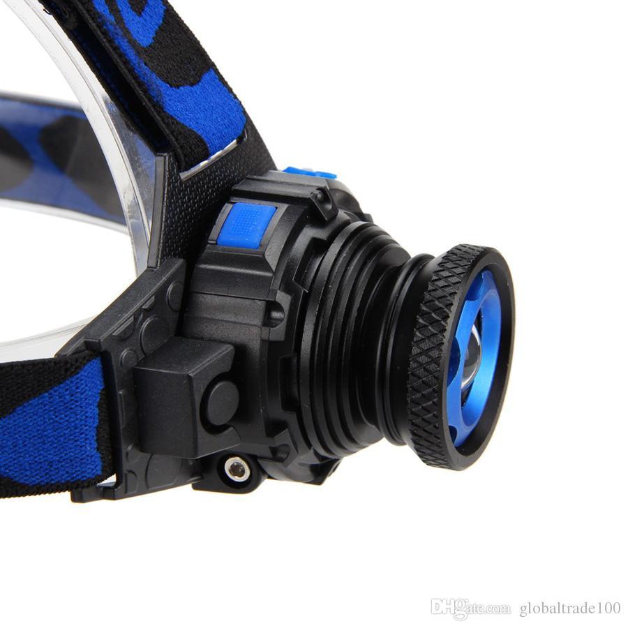 Cree Q5 3 modos 500 lúmenes LED recargable foco faro faro lámpara de cabeza con zoom linterna proyector para la caza cargador de la UE EE. UU.