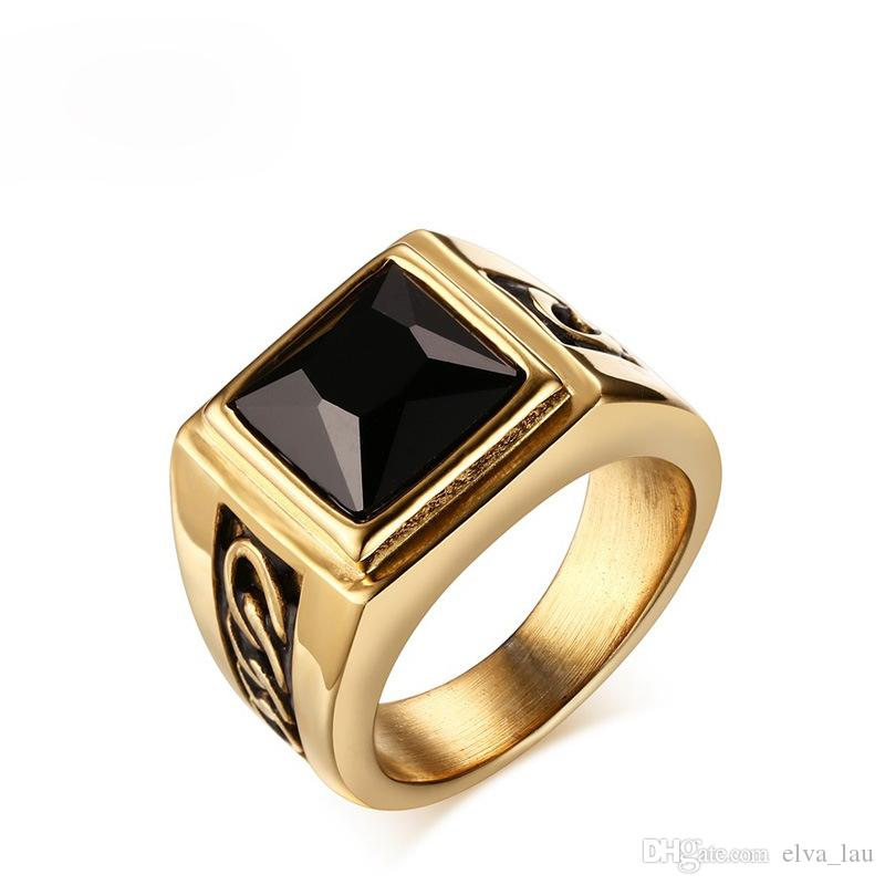 Black Stone Enement Rings | 2019 New Fashion Black Stone Wedding Rings For Engagement Party