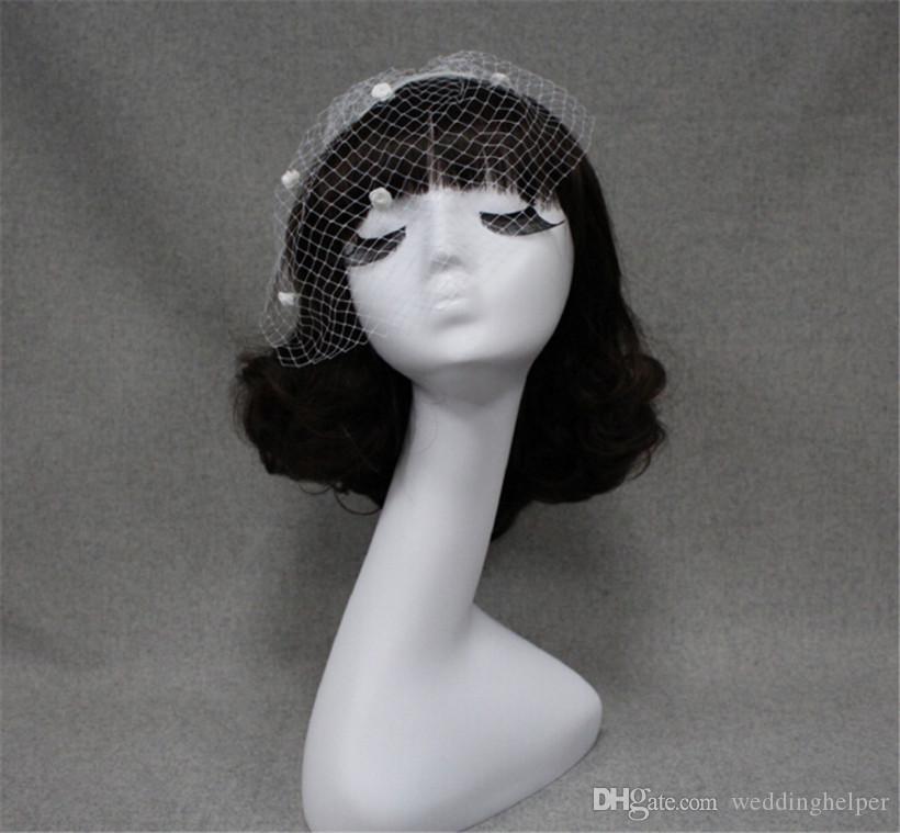 빈티지 웨딩 신부 흰색 그물 birdcage 베일 얼굴 베일 머리 빗 액세서리와 머리 장식 꽃 머리 베일 호의 패션 파티 베일