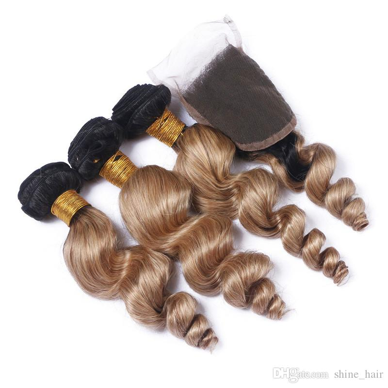 Loose Wave 1B/27 Honey Blonde Ombre Brazilian Virgin Hair with Lace Closure Light Brown Ombre 4x4 Lace Top Closure with 3Bundles