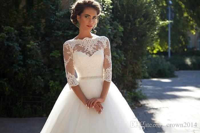 Country Vintage Lace 2019 Wedding Dresses Sheer Neck 3/4 Long Sleeves Pearls Tulle Princess Cheap Bridal Ball Gowns Plus Size Designer