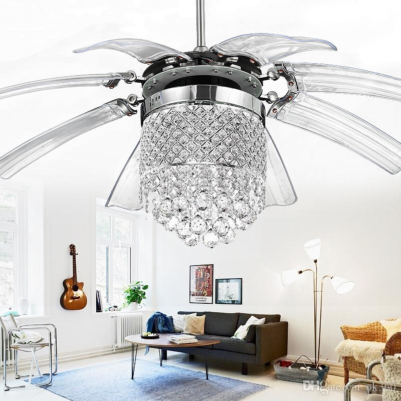 42 inch Led Ceiling Fans Light AC 110V 220V Invisible Blades crystal wings Ceiling Fans Modern Fan Lamp Living Room Bedroom Chandeliers