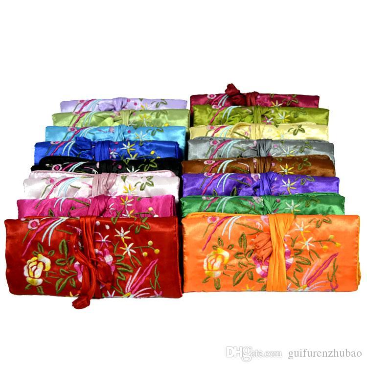 刺繍花鳥旅行ジュエリーロールネックレスブレスレット収納バッグサテンクラフトメイクアップ化粧品ポーチ3ジッパー2リングロープクラッチバッグ