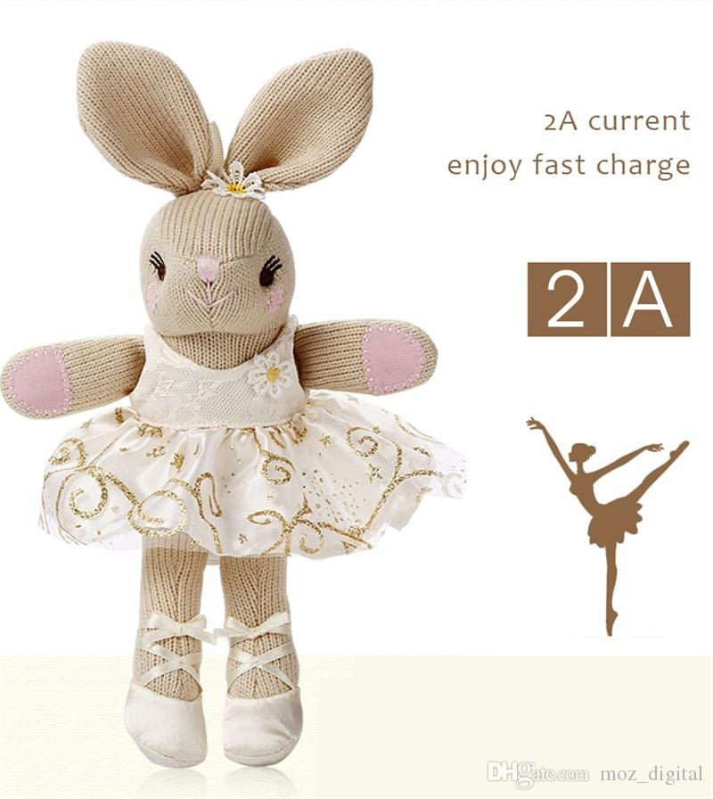 CYKE New Portable Plush dolls balltet rabbit Power Bank 5200mAh 2.0A Mobile Charger External Battery Pack For Universal