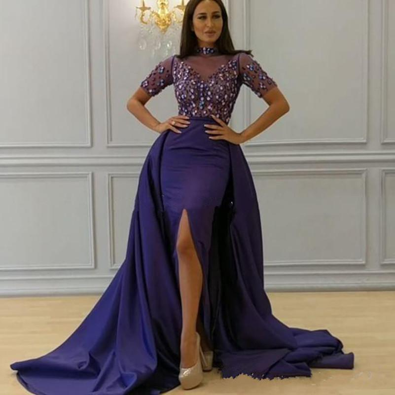 Chic Royal Purple Arabic Dubai Dresses Evening Wear With Detachable ...