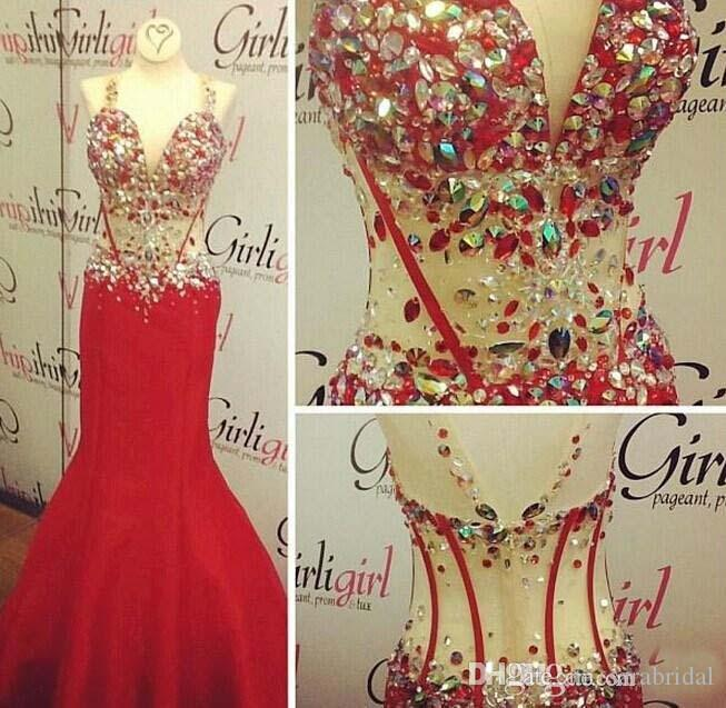 Real Picture Luxury Crystal See Through Evening Dresses 2016 Deep V Neck Beaded Rhinestone Mermaid Red White Prom Gowns Red Carpet Pageant
