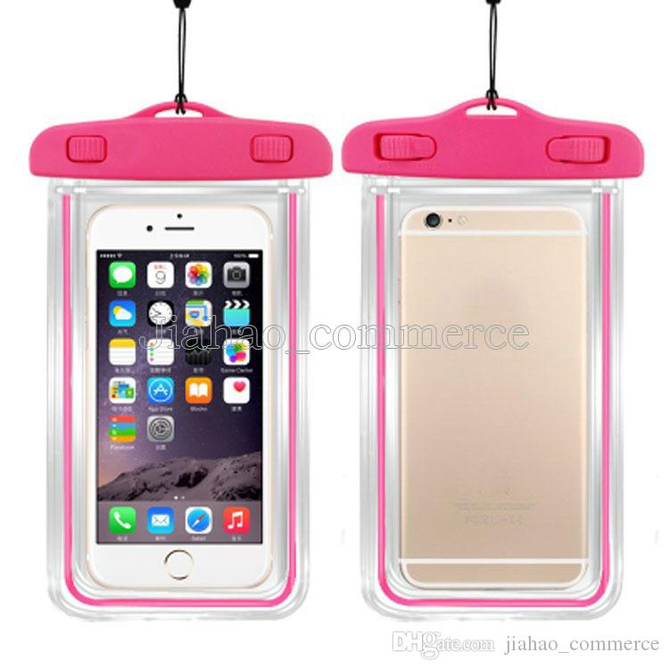 100% Sealed Fluorescence Luminous Transparent Waterproof Bag Case For Smart Phone,Mobile phone,Android phone
