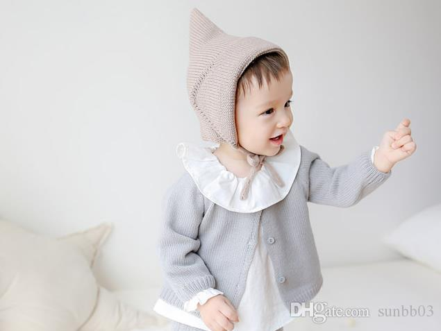 Spring Autumn Winter Infant Baby Caps Knitted Hats Boys Girls Babies Beanies Ears Warm Cap Children Knitting Lace Up Hat Beige Coffee
