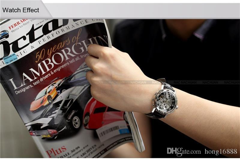 Ganador de la moda Banda de cuero negro Reloj mecánico esqueleto de acero inoxidable para hombre Reloj de pulsera mecánico de oro Envío + caja de producto gratis