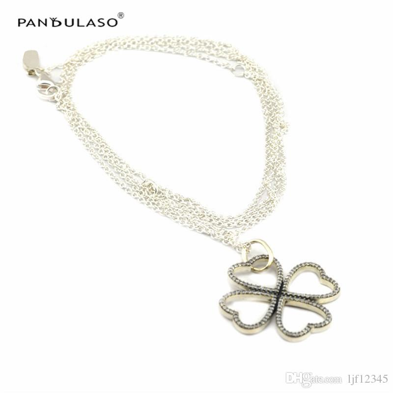Petals of Love Clear CZ Necklace sterling-Silver-jewelry Woman New Charm Wholesale Jewelry Necklace Summer New Chain Jewelry