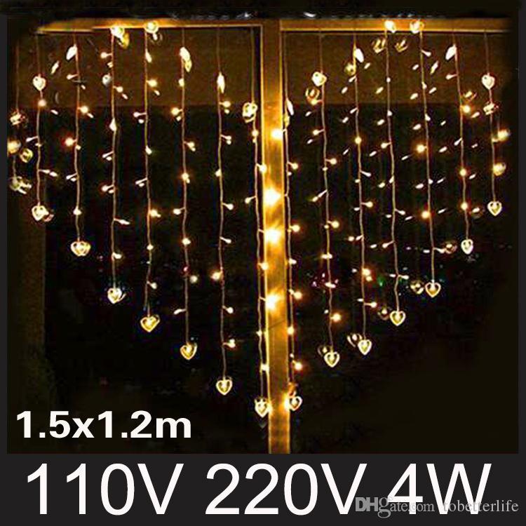 En forme de coeur led lumières de rideau String Light Heart Couleurs De  Mariage Décoration Lumière Fée Rideau Lumières De Noël Xmax Parti Décor ...