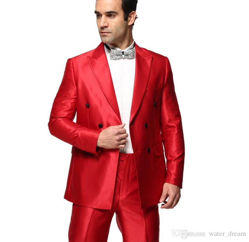 Latest handsome groom suit chic double-breasted men custom fashion pure red suit jacket + pants high quality PROM dresses