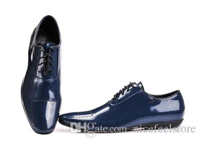 New Arrival Italian Brand Men's Blue Dress Shoes Man Leather Dancing Fashion Office Shoe Size 40-46 Black Brown Can Choice P91501