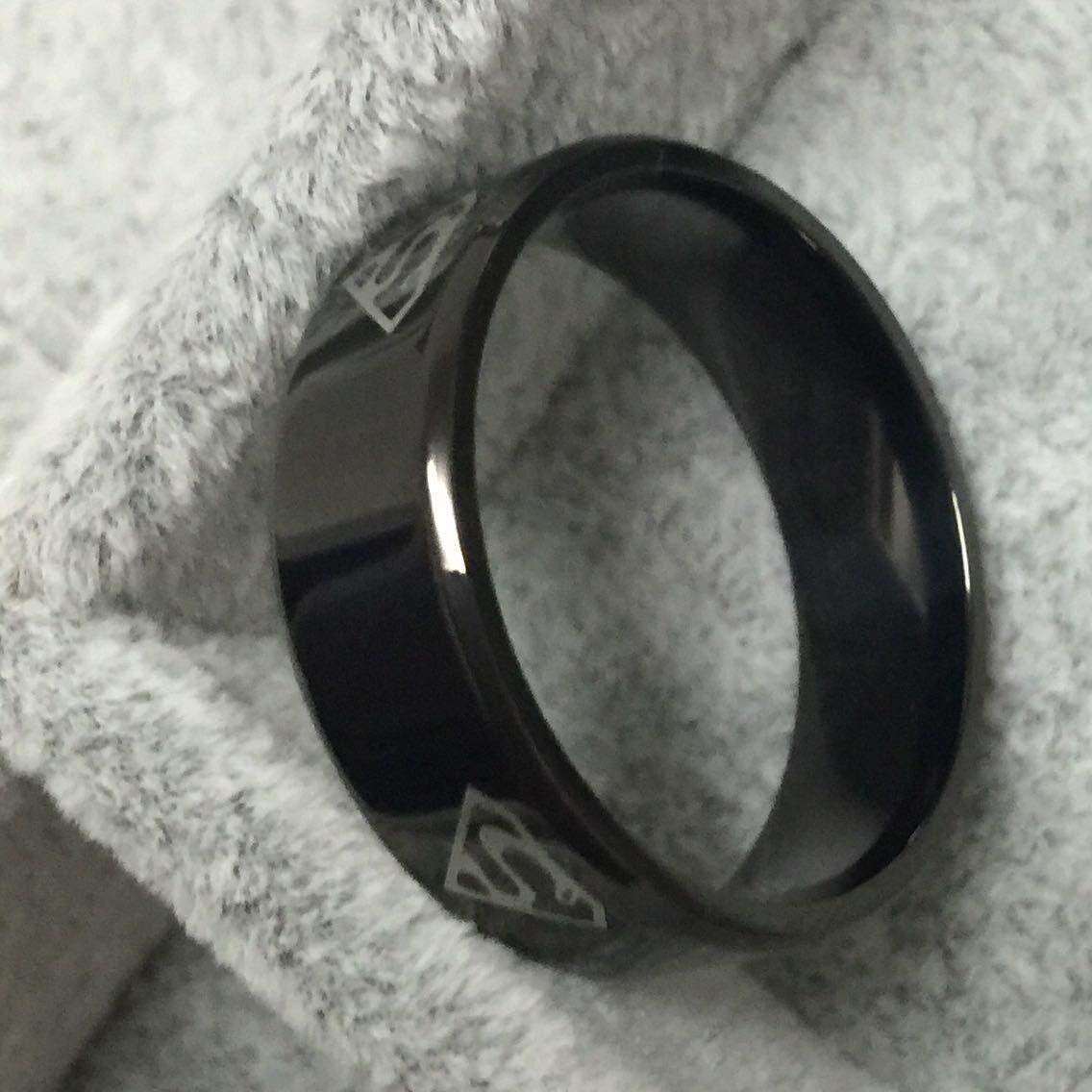 Superman preto S logotipo aliança de carboneto de tungstênio anel de largura 8mm 7g para mulheres dos homens de alta qualidade EUA 7-14