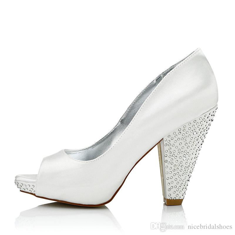 Rhinestone High Heel Dyeable Satin Wedding Dress Shoes Platform ...
