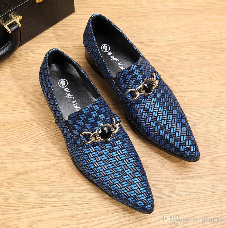 Neue stil luxus blau / hellgrau faulenzer leder männer casual schuhe mode männer rauchen hausschuhe männlichen hochzeit und partei müßiggänger z169