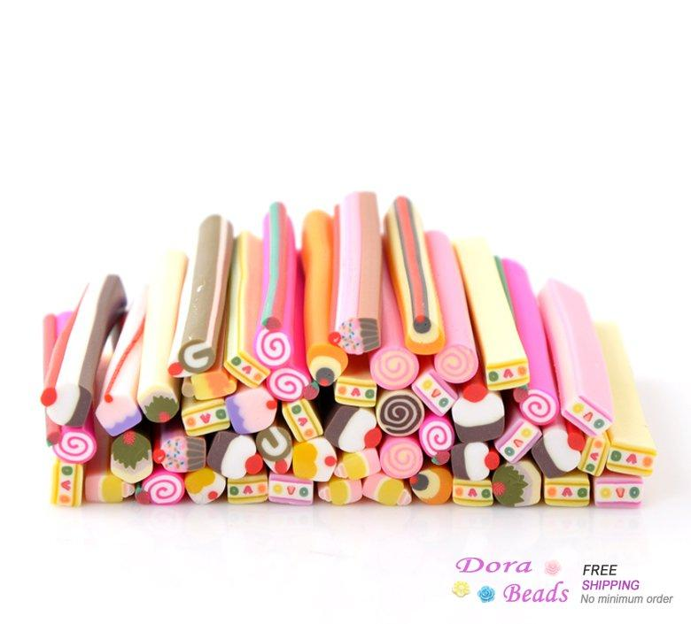 1packet Mixed Pattern Polymer Clay Nail Art Canes Decoration ...