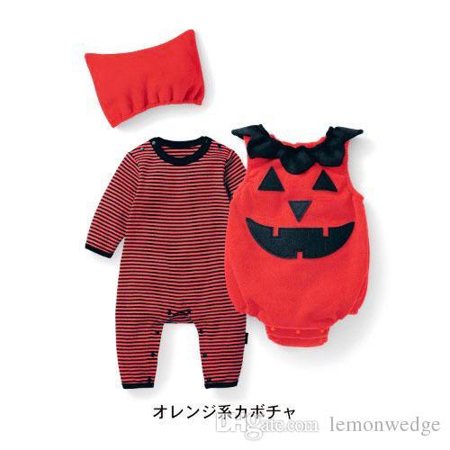 86958903a 2019 New Children S Long Sleeve Romper+Fleece Pumpkin Vest+Hat ...