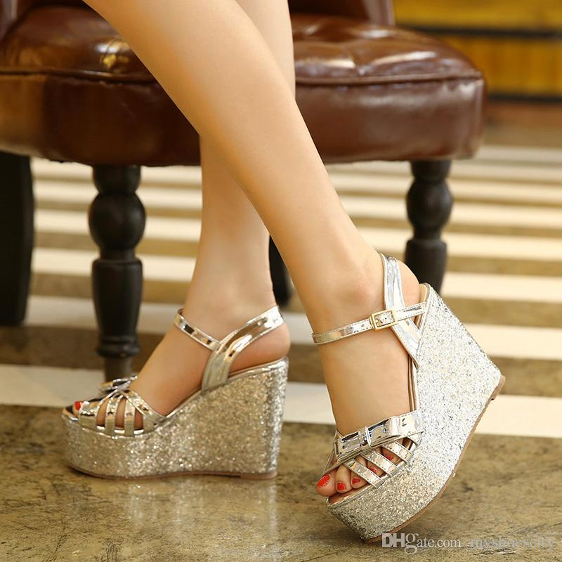 Bling Bling Sequined Gold Silver Platform Wedges Sandals Ladies Summer High  Heel Shoes 12cm Size 34 To 39 Wedge Shoes Womens Sandals From Myshoescity,  ...