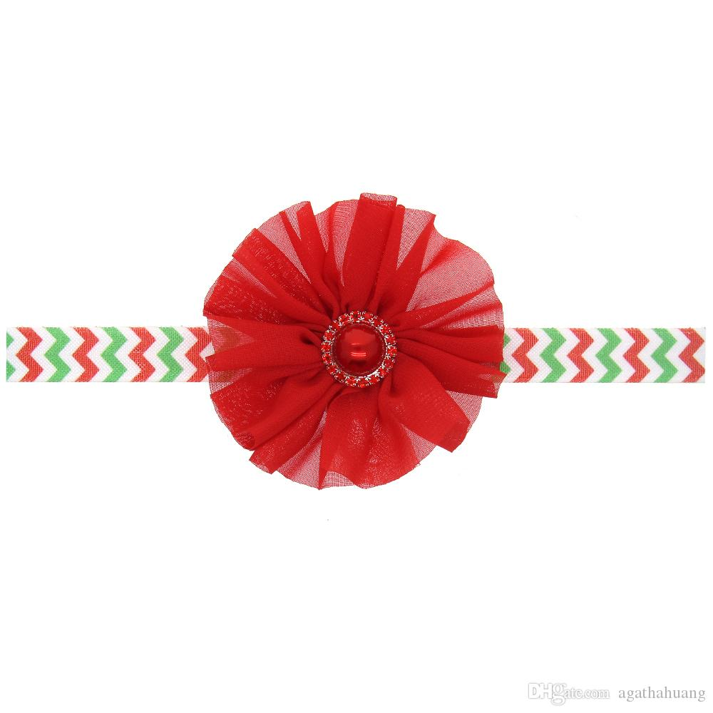 Christmas Baby Elastic Hair Band Chiffon Red Flower Headbands Baby Hair Accessories Girls Rhinestone Headbands Childrens Accessories