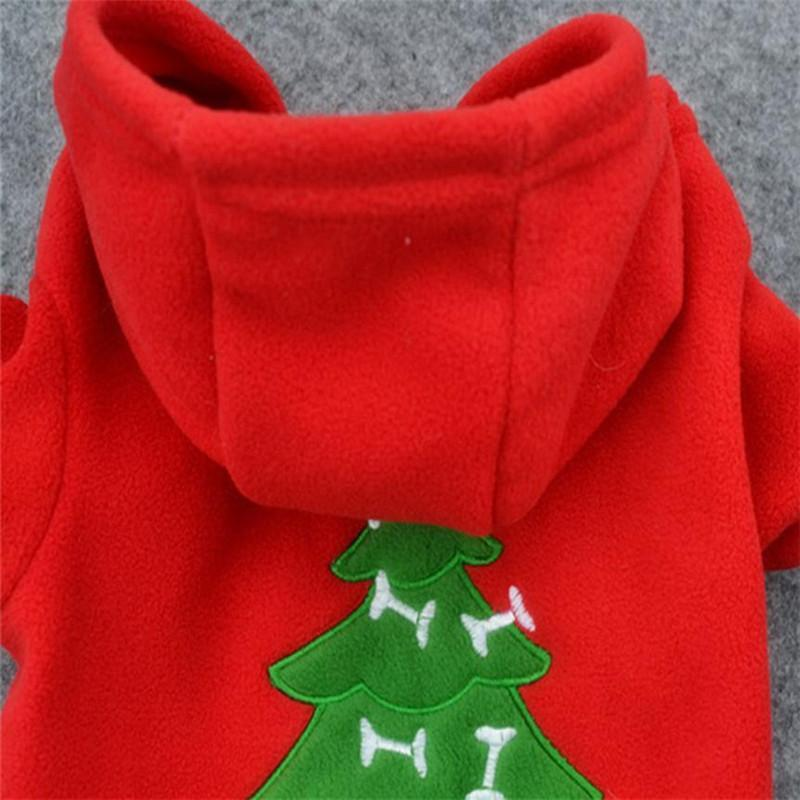 Merry Christmas Pet dog Hoodie Coat Festival Xmas Christmas Tree Puppy Cloth with Hat Winter warm apparel Red for Doggy