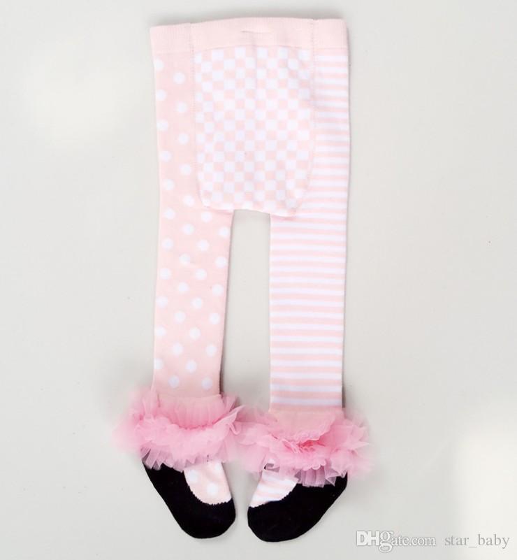 Eurpean Stil Kız Külotlu Sonbahar Kızlar Dans Bale Tayt Çocuklar Pantolon Bebek Tam Pamuk Yay Şerit Noktalar Tayt Prenses Uzun Çorap 9524