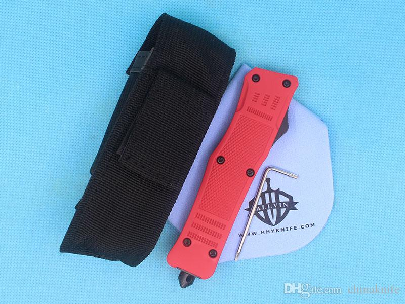 Allvin Manufacture Large Size 616 Red Handle Auto Tactial Knife 440C 58HRC Single Edge Tanto Half Serration Blade Tactical Gearz
