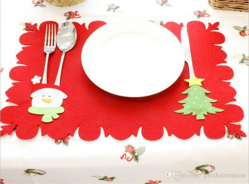 Christmas Decorative Table Mat Cutlery Holders Santa Snowman Christmas Tree Reindeer Decoration Mats Table Runner Party Decor 3 Styles