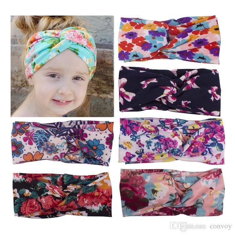 55cf97e96 Newest Baby Floral Printed Headbands Kids Girls Knot Hairband Turban  Children Soft Cross Elastic Cotton Headwear Hair Accessories KHA396