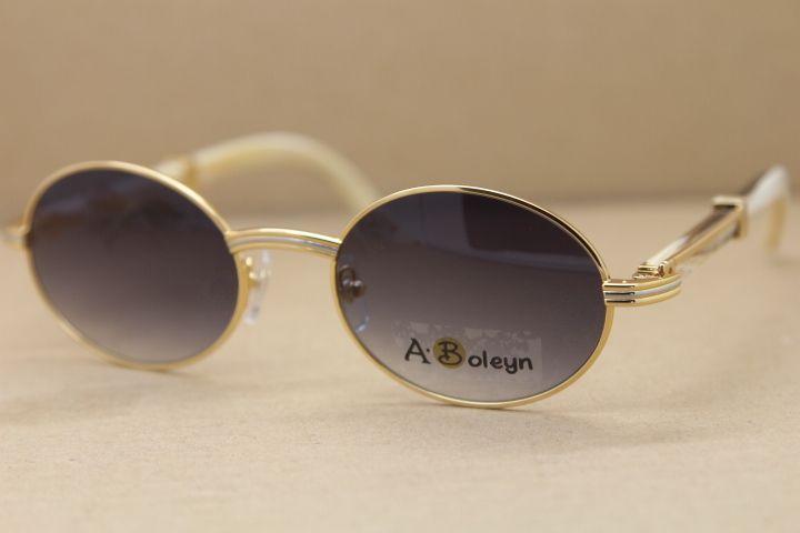 جولة ساخنة 2822546 الأبيض بافالو القرن النظارات الشمسية الرجال الشهيرة الطبيعية في الهواء الطلق نظارات شمسية الإطار القيادة نظارات C الديكور الحجم: 53