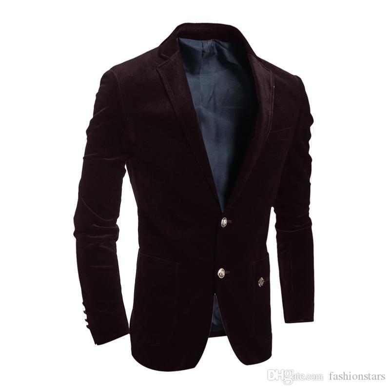 Acquista 2016 Brand New Blazer Uomo Casual Velluto A Coste Suit Uomo Slim  Fit Giacca Monopetto Giacche Outwear Cappotti Nero Vino Rosso A  70.93 Dal  ... b24a8b1cb61