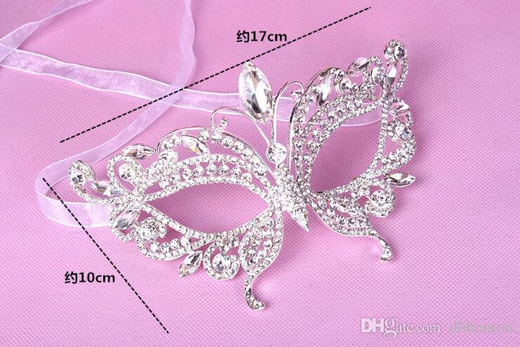 Artificial Diamond alloy crown set auger mask bridal mask artificial crystal masks luxury Costume party supply HT97