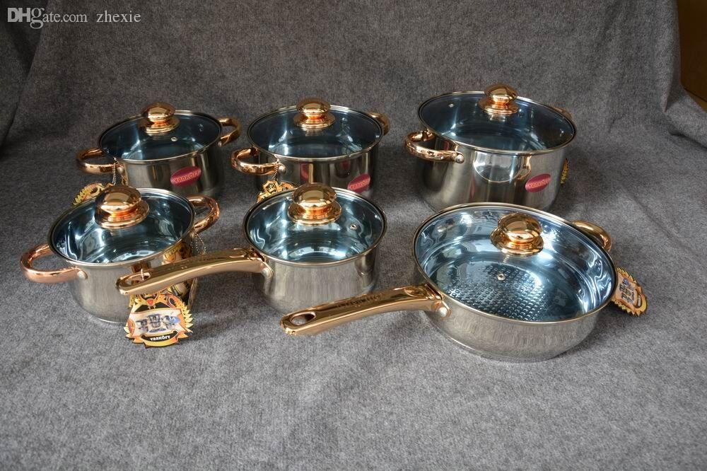 Wholesale cookware set with gold plating handle and knob for Bateria de cocina alemana