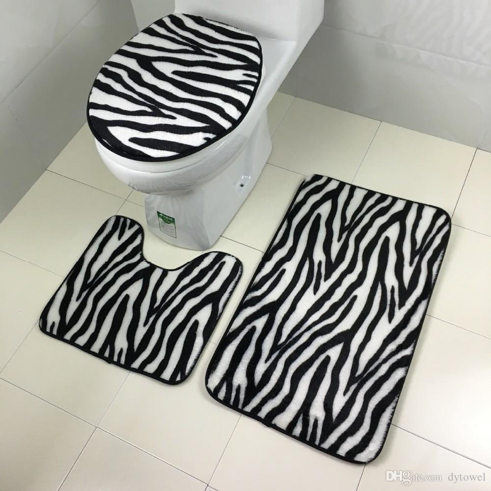 Großhandel Rutschfeste Badezimmer Teppich 10 Stücke Set Zebra Striped  Badematte Mit Toilettensitzabdeckung Tapete Para Banheiro WC Bodenmatte