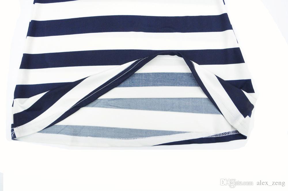 2016 부모 - 자식 가족 복장 아기 소녀 파란색과 흰색 줄무늬 보트 앵커 드레스 여자 아기 복장 조끼 비치 드레스 무료 배송