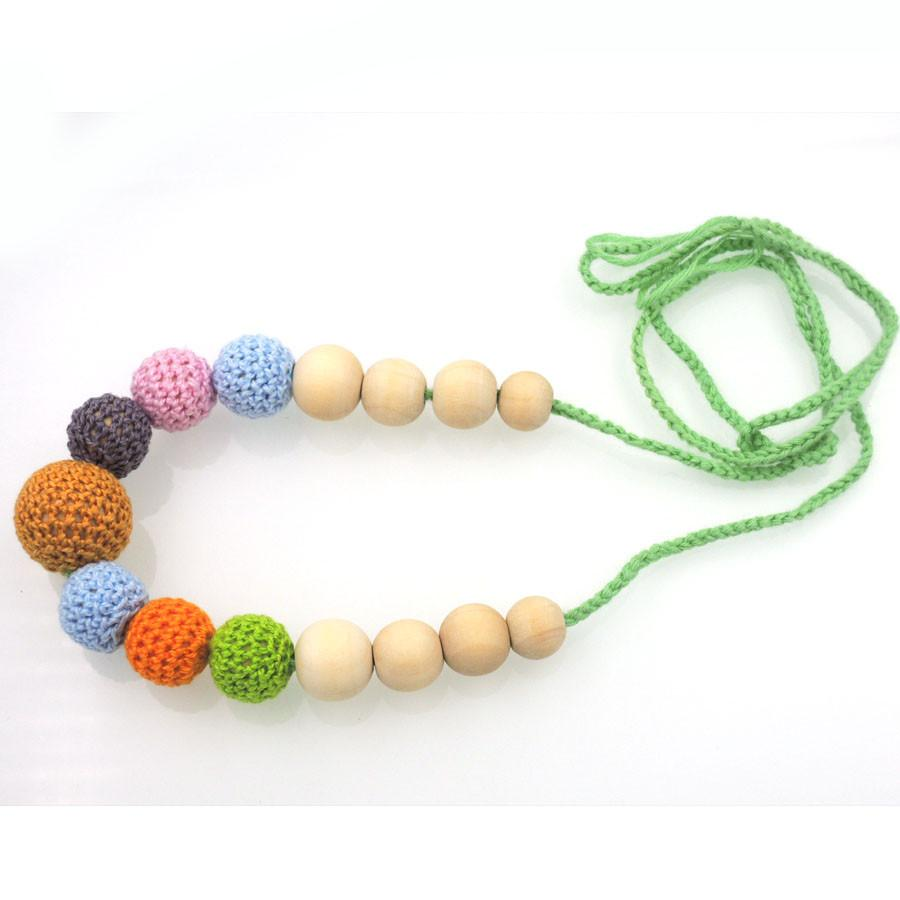Hot sale Mother's day gift crochet beads Fall Multi-color teething Nursing necklace, Babywearing, breast-feeding jewelry NW1989