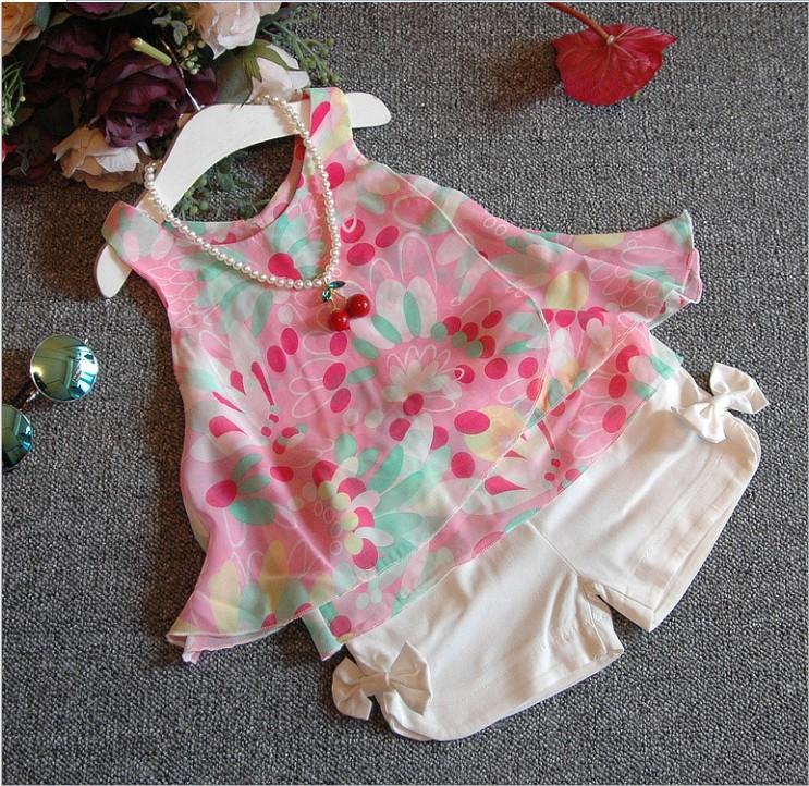 Kore Tarzı 2016 Yeni Kız Yaz Giyim Setleri Çocuk Çiçek Baskı Güneş-Üst + Ilmek Şort 2 adet Set Çocuklar Rahat Kıyafetler Sevimli Kız Suit