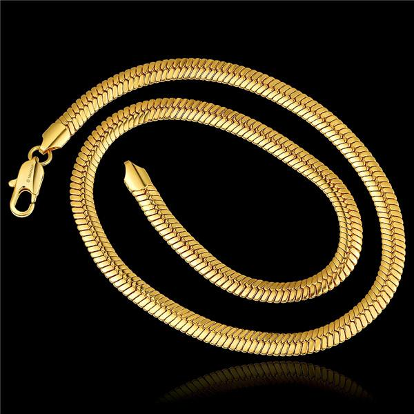 Christmas gift hot sale 24k 18k yellow gold '8M flat snake necklace jewelry GN816 brand new fashion gemstone necklace