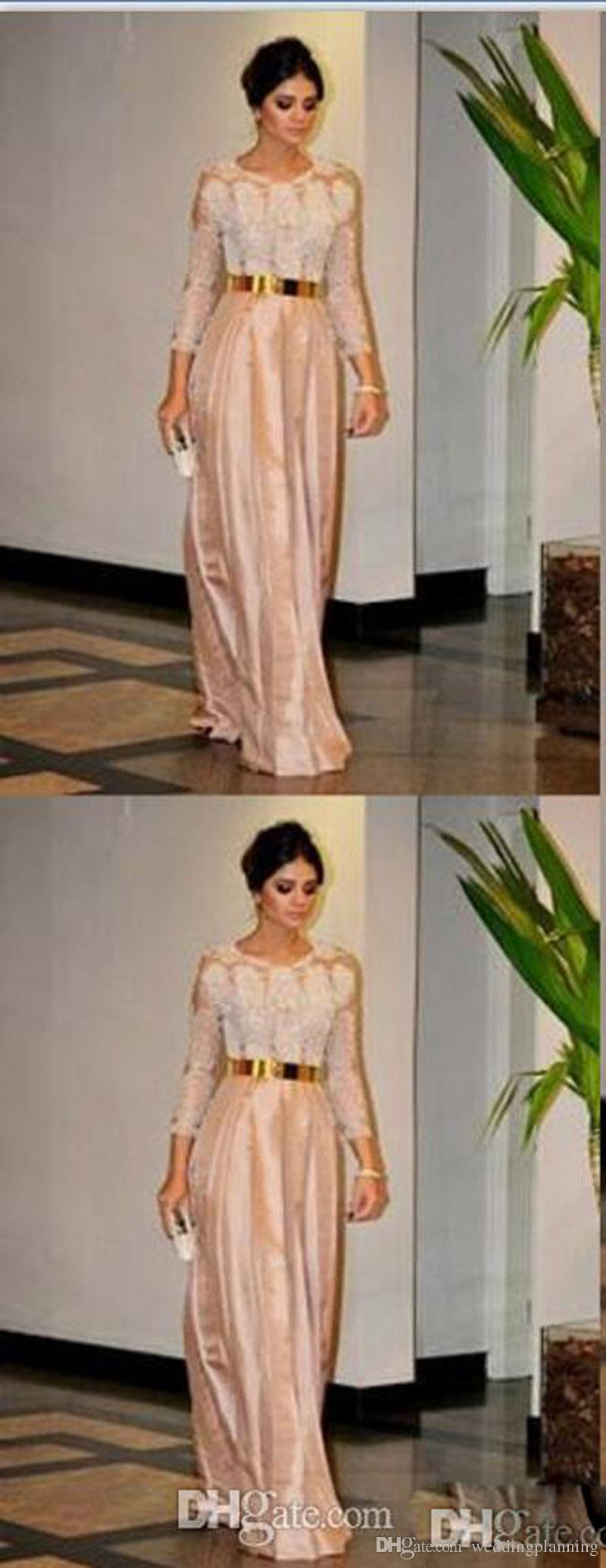 2017 Mother Of The Bride Groom Dress Gold Belt Lace Beads Long Sleeve Dinner Prom Dress Cheap Back Zipper Taffeta Party Evening Gowns