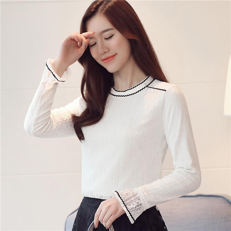 9cf5f880f6e66 2019 Winter New Sweet Lace Shirts Korean Crew Neck Long Sleeve Blouses  Flare Sleeve Shirt Thicker Slim Underwear Plus Velvet Women Blouse From  Micheala shop ...