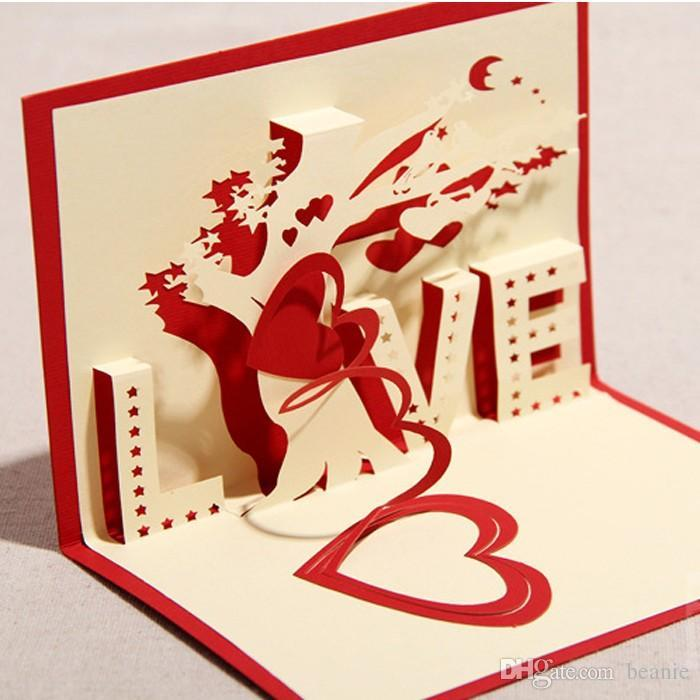 New 3d Percept Love Confession Tree GirlfriendS Birthday Wedding – Birthday Love Greeting Cards