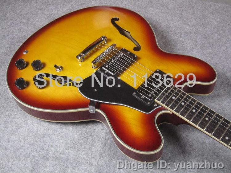 jazz electric guitar guitar plain top vintage sunburst hollow body guitar dot inlay electric. Black Bedroom Furniture Sets. Home Design Ideas