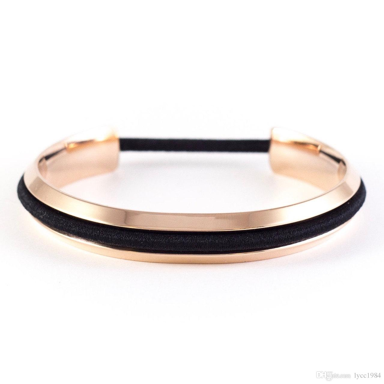 DHL Hair Ties Bracelet Hair Band Holder High Quality Cuff Bangle Silver Gold Rose Gold Wristband for Wedding Girls Gift