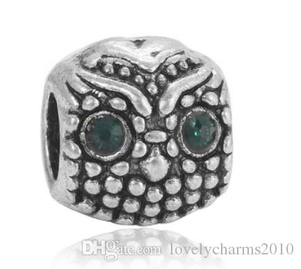 Fits Pandora Bracelets 30pcs Bird Minerva Owl Charms Beads Silver Charms Bead For Wholesale Diy European Necklace Jewelry Accessories Xmas